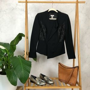 Vintage 90s Lace Ruffle Zip Black Fitted Blazer
